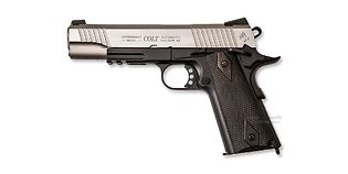 Cybergun Colt M1911 Rail blowback CO2 pistooli, metalli musta/hopea