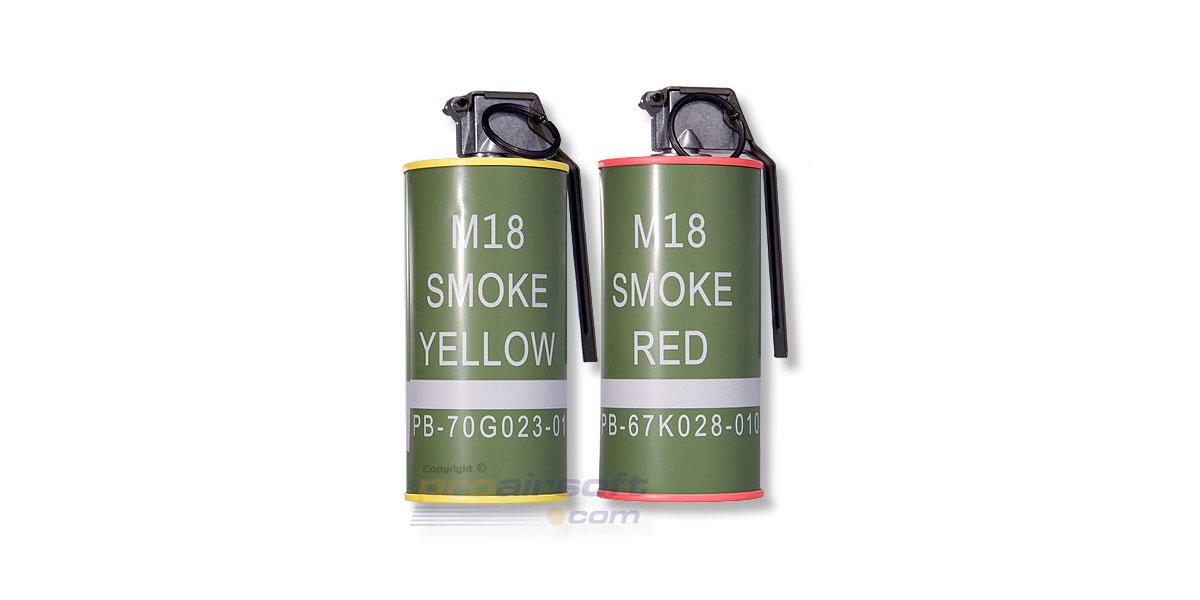 G&G M18 Dummy Smoke Grenade BB Can Set  (Red/Yellow