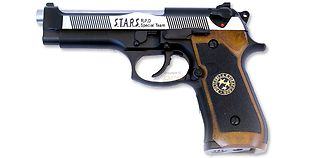 WE M92 Biohazard Samurai Edge DT kaasupistooli, metalli dualtone