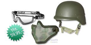 Kypärä+maski+suojalasit paketti, vihreä