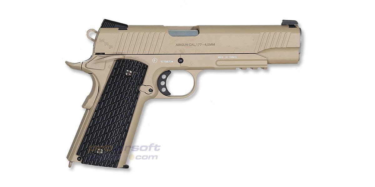 Swiss Arms M1911 Tactical Rail 4 5mm CO2 Airgun Tan - ProAirsoft