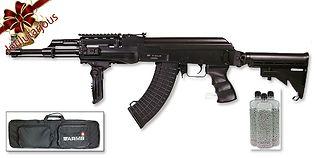 ASG AK47 Tactical sähköase teleskooppitukilla